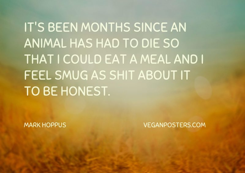 It's been months since an animal has had to die so that I could eat a meal and I feel smug as shit about it to be honest.