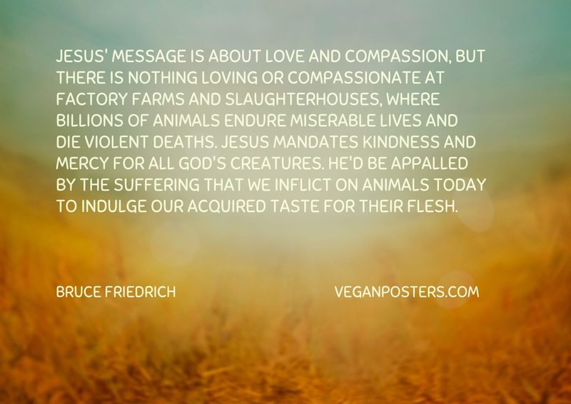 Jesus' message is about love and compassion, but there is nothing loving or compassionate at factory farms and slaughterhouses, where billions of animals endure miserable lives and die violent deaths. Jesus mandates kindness and mercy for all God's creatures. He'd be appalled by the suffering that we inflict on animals today to indulge our acquired taste for their flesh.