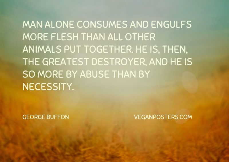 Man alone consumes and engulfs more flesh than all other animals put together. He is, then, the greatest destroyer, and he is so more by abuse than by necessity.