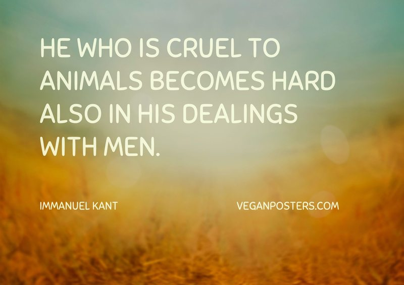He who is cruel to animals becomes hard also in his dealings with men.