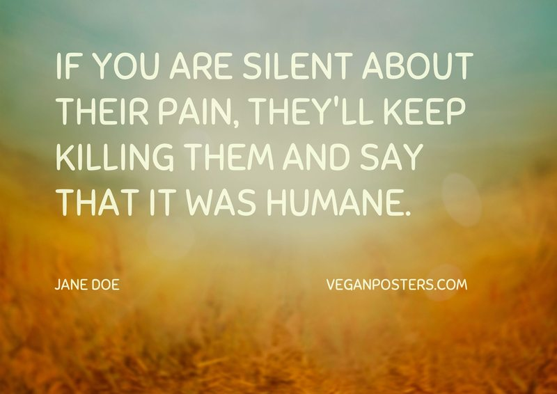 If you are silent about their pain, they'll keep killing them and say that it was humane.