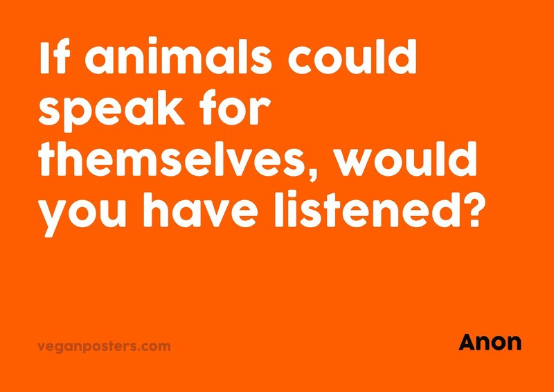 If animals could speak for themselves, would you have listened?