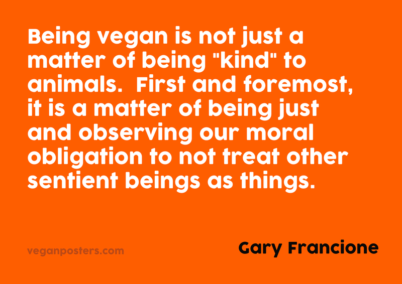 """Being vegan is not just a matter of being """"kind"""" to animals.  First and foremost, it is a matter of being just and observing our moral obligation to not treat other sentient beings as things."""