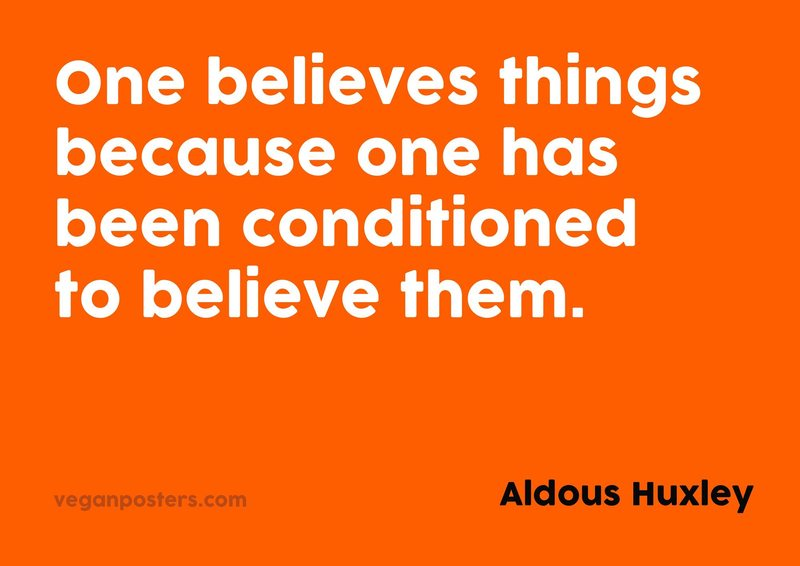 One believes things because one has been conditioned to believe them.