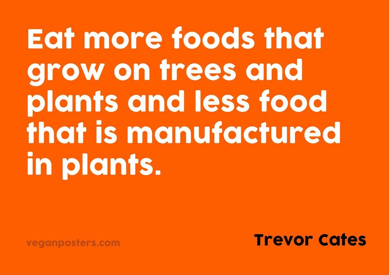 Eat more foods that grow on trees and plants and less food that is manufactured in plants.