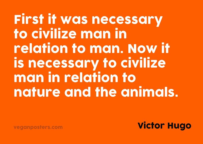 First it was necessary to civilize man in relation to man. Now it is necessary to civilize man in relation to nature and the animals.
