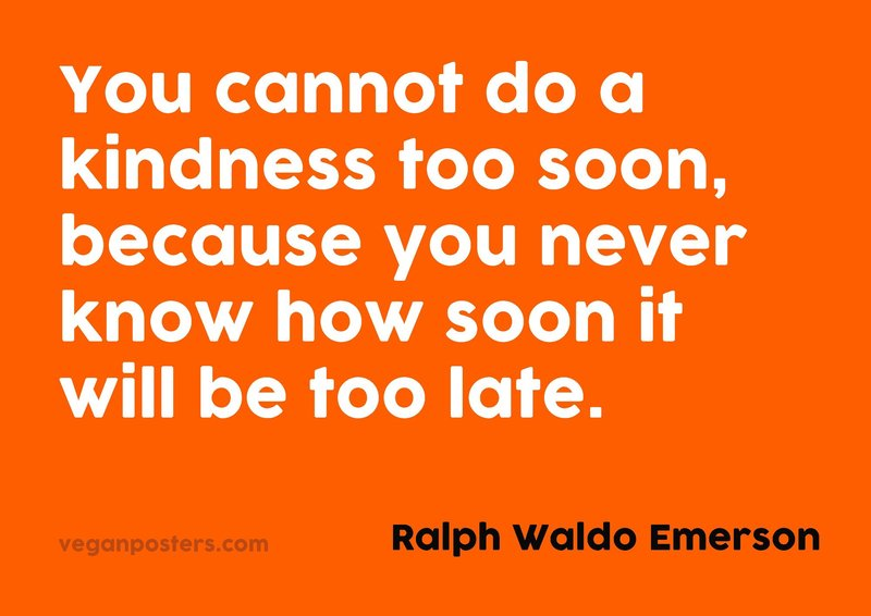 You cannot do a kindness too soon, because you never know how soon it will be too late.