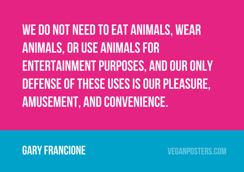 We do not need to eat animals, wear animals, or use animals for entertainment purposes, and our only defense of these uses is our pleasure, amusement, and convenience.