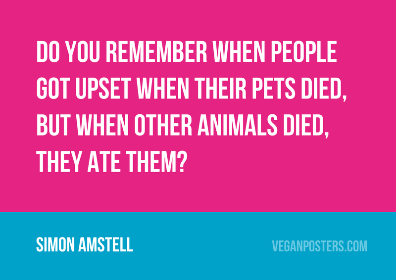 Do you remember when people got upset when their pets died, but when other animals died, they ate them?