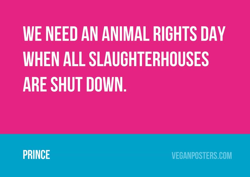 We need an Animal Rights Day when all slaughterhouses are shut down.