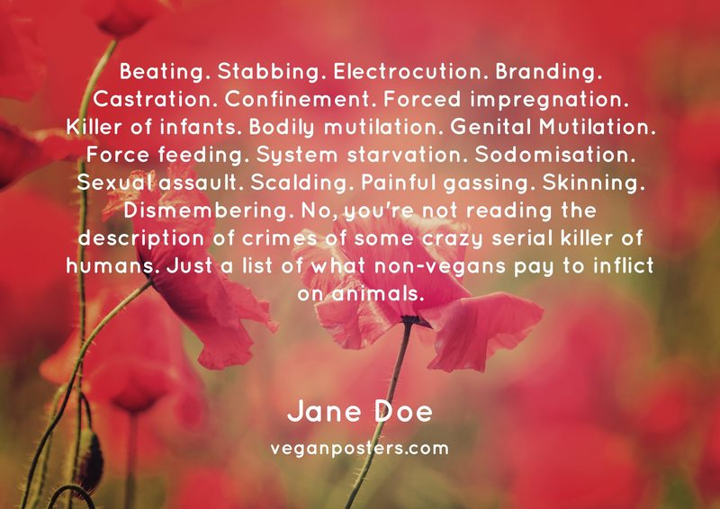 Beating. Stabbing. Electrocution. Branding. Castration. Confinement. Forced impregnation. Killer of infants. Bodily mutilation. Genital Mutilation. Force feeding. System starvation. Sodomisation. Sexual assault. Scalding. Painful gassing. Skinning. Dismembering. No, you're not reading the description of crimes of some crazy serial killer of humans. Just a list of what non-vegans pay to inflict on animals.