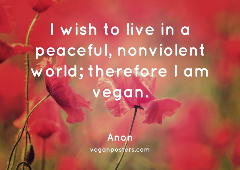 I wish to live in a peaceful, nonviolent world; therefore I am vegan.