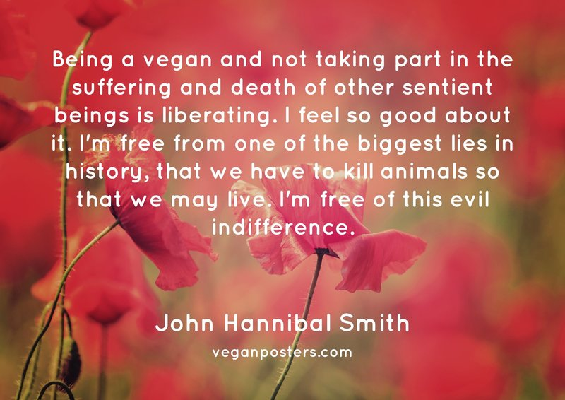 Being a vegan and not taking part in the suffering and death of other sentient beings is liberating. I feel so good about it. I'm free from one of the biggest lies in history, that we have to kill animals so that we may live. I'm free of this evil indifference.