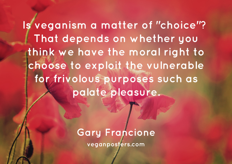 """Is veganism a matter of """"choice""""?  That depends on whether you think we have the moral right to choose to exploit the vulnerable for frivolous purposes such as palate pleasure."""