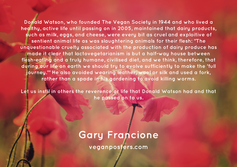 """Donald Watson, who founded The Vegan Society in 1944 and who lived a healthy, active life until passing on in 2005, maintained that dairy products, such as milk, eggs, and cheese, were every bit as cruel and exploitive of sentient animal life as was slaughtering animals for their flesh: """"The unquestionable cruelty associated with the production of dairy produce has made it clear that lactovegetarianism is but a half-way house between flesh-eating and a truly humane, civilised diet, and we think, therefore, that during our life on earth we should try to evolve sufficiently to make the 'full journey.'"""" He also avoided wearing leather, wool or silk and used a fork, rather than a spade in his gardening to avoid killing worms.  Let us instil in others the reverence or life that Donald Watson had and that he passed on to us."""