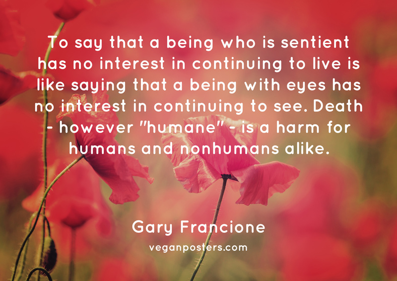 "To say that a being who is sentient has no interest in continuing to live is like saying that a being with eyes has no interest in continuing to see. Death - however ""humane"" - is a harm for humans and nonhumans alike."