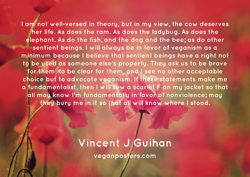 I am not well-versed in theory, but in my view, the cow deserves her life. As does the ram. As does the ladybug. As does the elephant. As do the fish, and the dog and the bee; as do other sentient beings. I will always be in favor of veganism as a minimum because I believe that sentient beings have a right not to be used as someone else's property. They ask us to be brave for them, to be clear for them, and I see no other acceptable choice but to advocate veganism. If these statements make me a fundamentalist, then I will sew a scarlet F on my jacket so that all may know I'm fundamentally in favor of nonviolence; may they bury me in it so that all will know where I stood.
