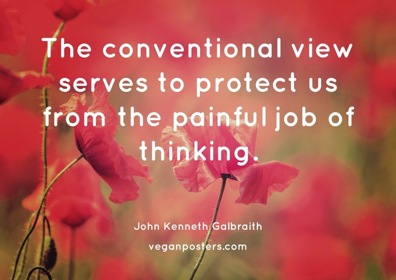 The conventional view serves to protect us from the painful job of thinking.