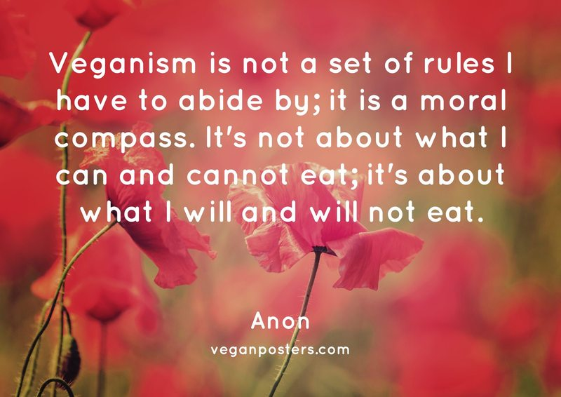 Veganism is not a set of rules I have to abide by; it is a moral compass. It's not about what I can and cannot eat; it's about what I will and will not eat.