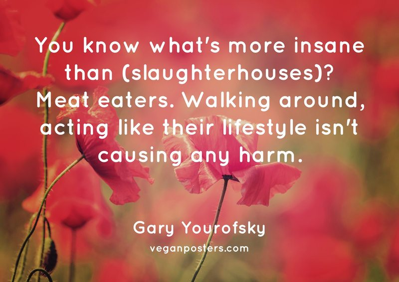 You know what's more insane than (slaughterhouses)? Meat eaters. Walking around, acting like their lifestyle isn't causing any harm.