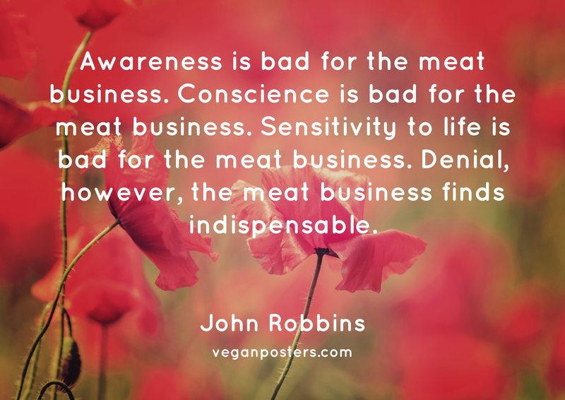 Awareness is bad for the meat business. Conscience is bad for the meat business. Sensitivity to life is bad for the meat business. Denial, however, the meat business finds indispensable.