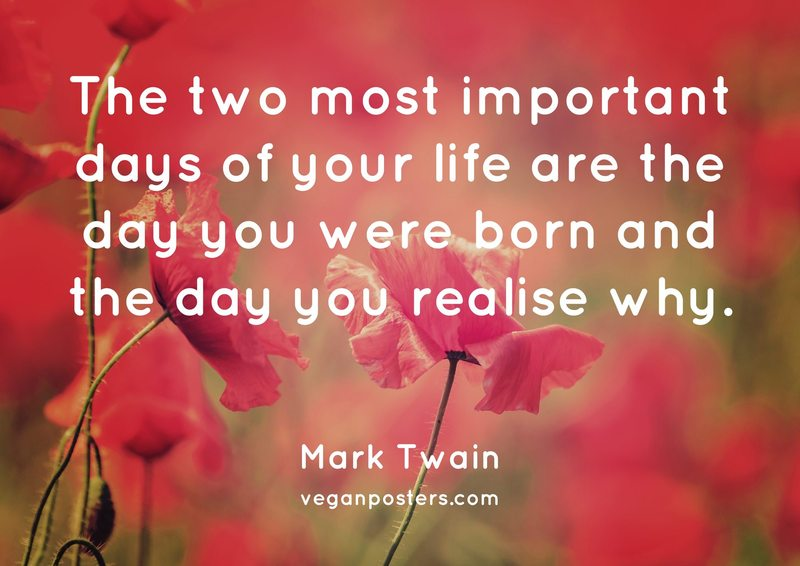 The two most important days of your life are the day you were born and the day you realise why.