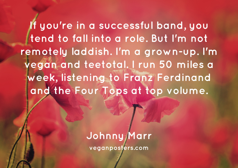 If you're in a successful band, you tend to fall into a role. But I'm not remotely laddish. I'm a grown-up. I'm vegan and teetotal. I run 50 miles a week, listening to Franz Ferdinand and the Four Tops at top volume.