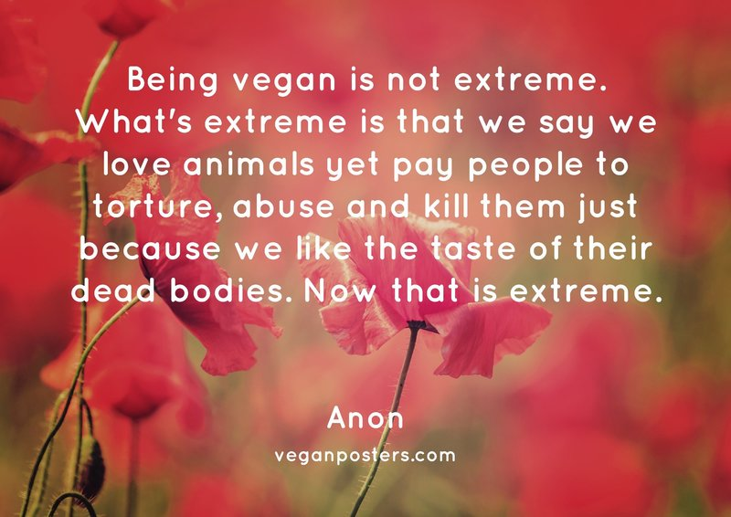 Being vegan is not extreme. What's extreme is that we say we love animals yet pay people to torture, abuse and kill them just because we like the taste of their dead bodies. Now that is extreme.