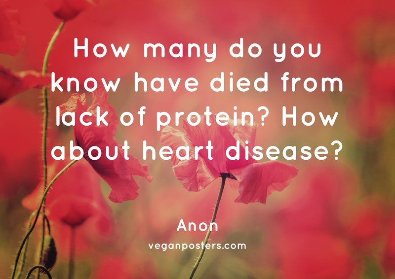 How many do you know have died from lack of protein? How about heart disease?