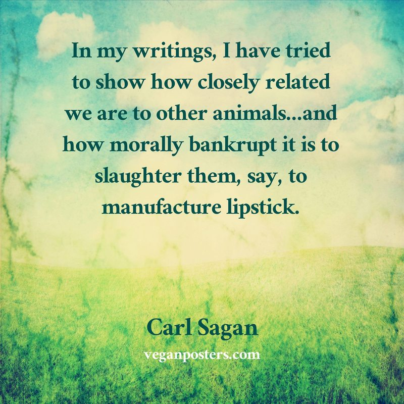 In my writings, I have tried to show how closely related we are to other animals…and how morally bankrupt it is to slaughter them, say, to manufacture lipstick.