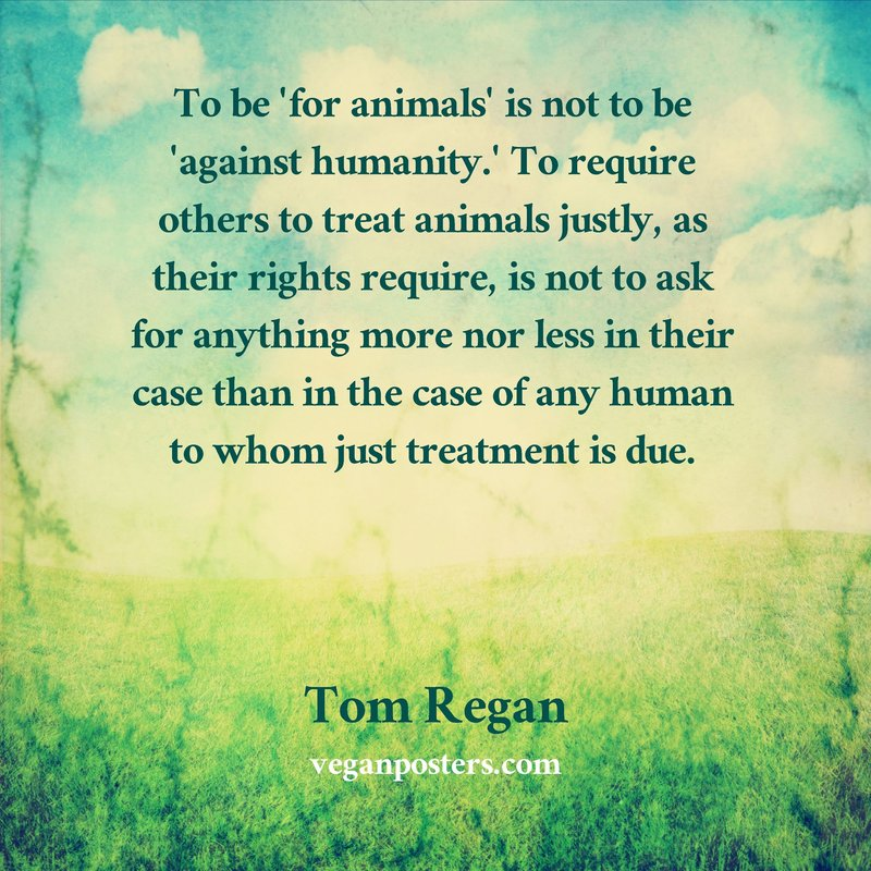To be 'for animals' is not to be 'against humanity.' To require others to treat animals justly, as their rights require, is not to ask for anything more nor less in their case than in the case of any human to whom just treatment is due.