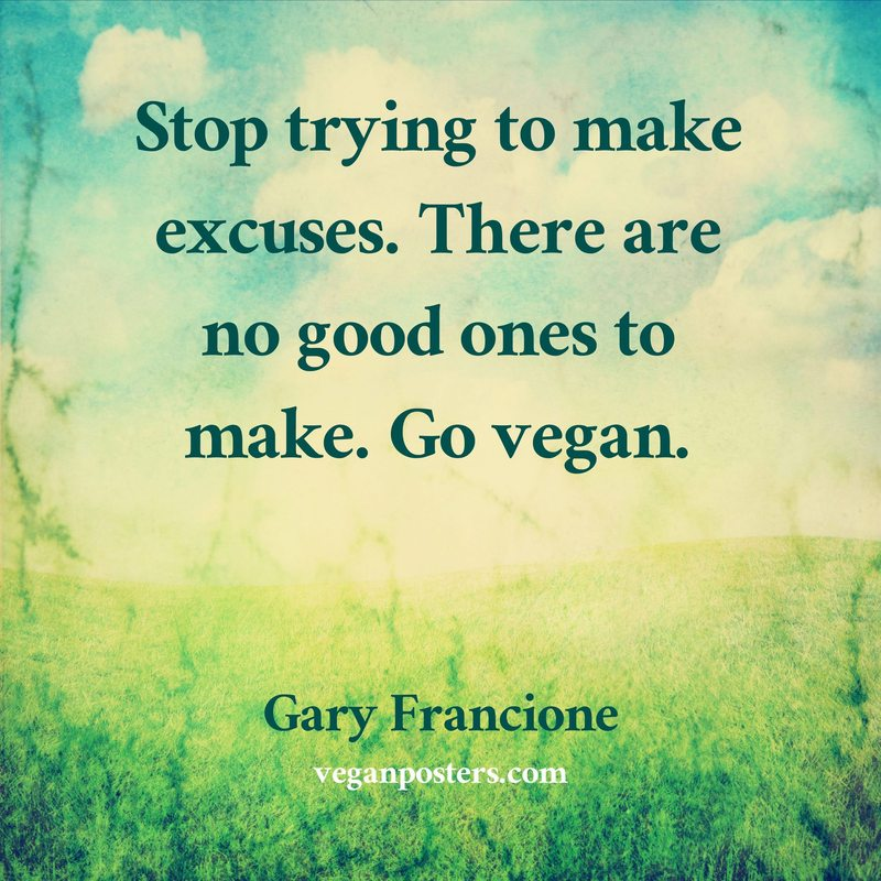 Stop trying to make excuses. There are no good ones to make. Go vegan.
