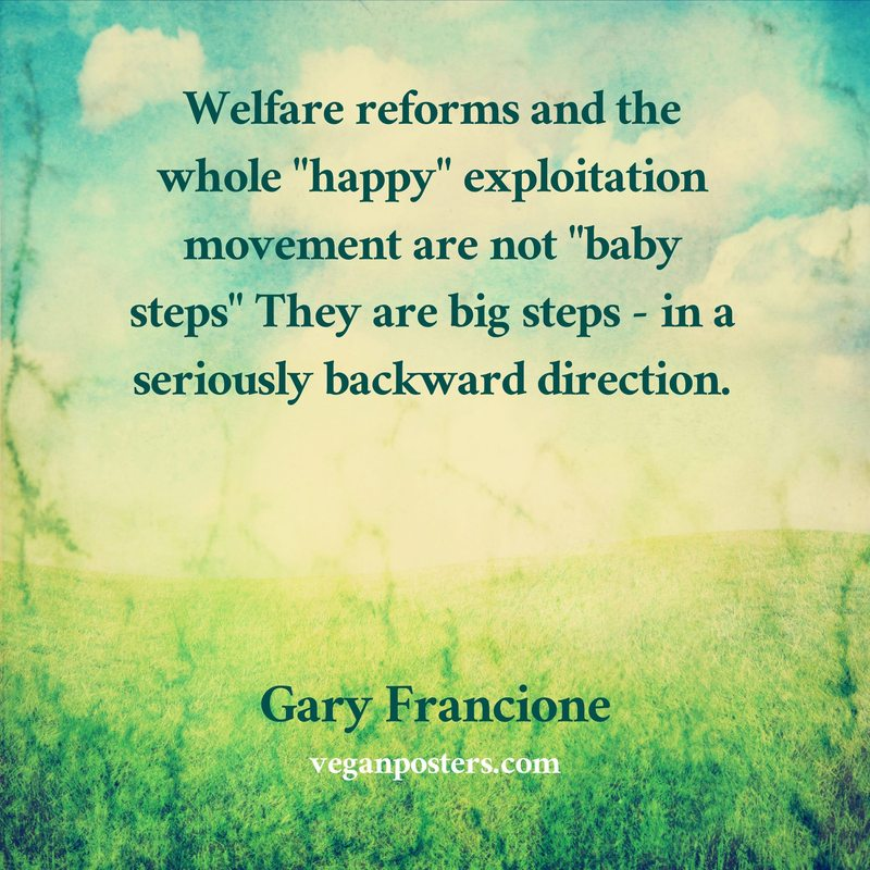 "Welfare reforms and the whole ""happy"" exploitation movement are not ""baby steps"" They are big steps - in a seriously backward direction."