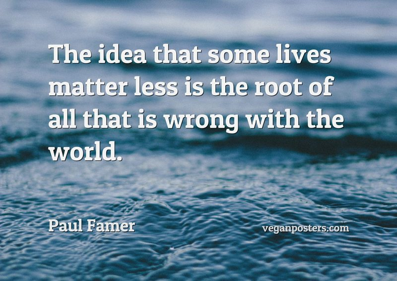 The idea that some lives matter less is the root of all that is wrong with the world.