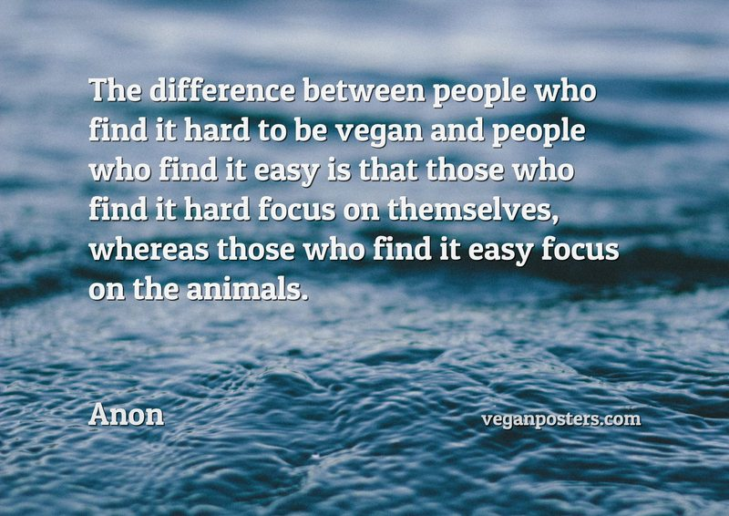 The difference between people who find it hard to be vegan and people who find it easy is that those who find it hard focus on themselves, whereas those who find it easy focus on the animals.