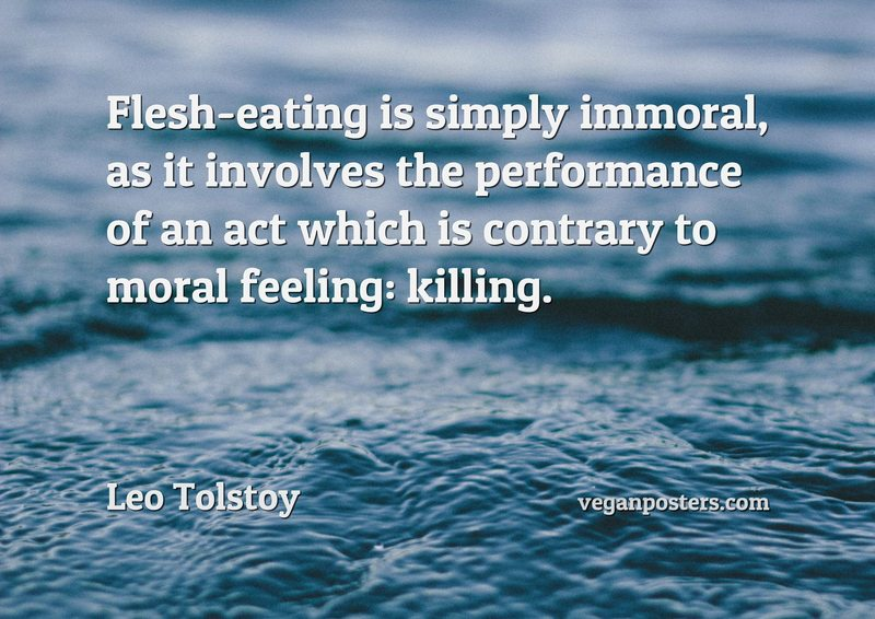 Flesh-eating is simply immoral, as it involves the performance of an act which is contrary to moral feeling: killing.