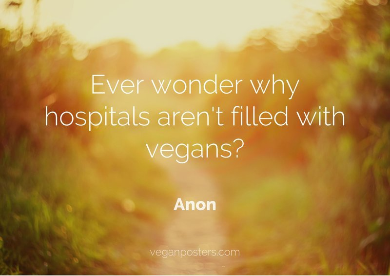 Ever wonder why hospitals aren't filled with vegans?