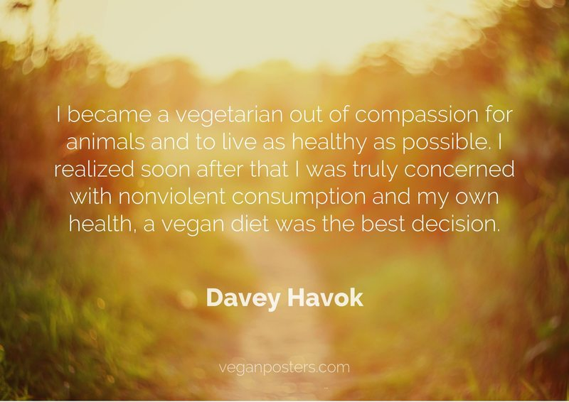 I became a vegetarian out of compassion for animals and to live as healthy as possible. I realized soon after that I was truly concerned with nonviolent consumption and my own health, a vegan diet was the best decision.