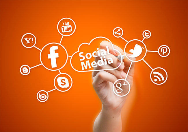 social media image on orange background